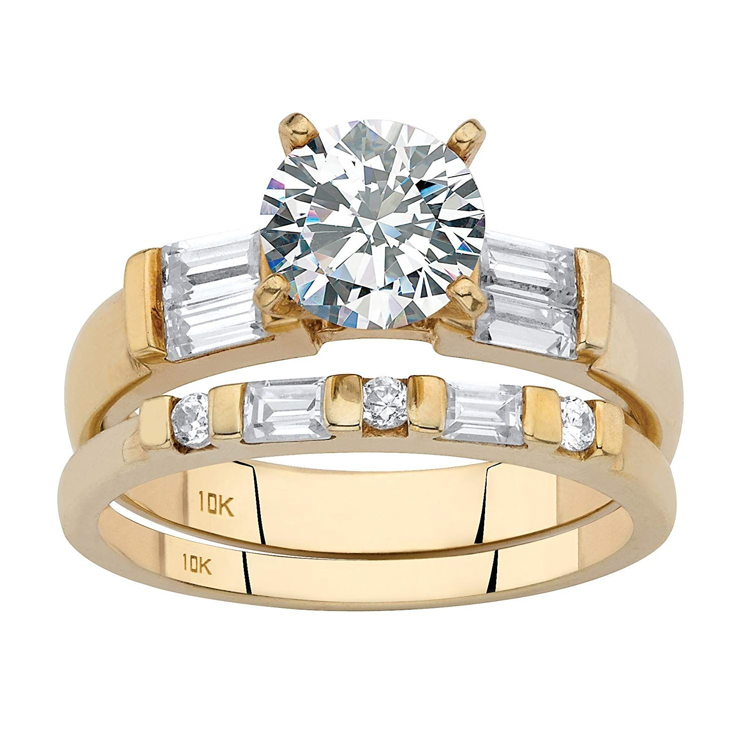 Solid 10K Yellow Gold Round Cubic Zirconia Bridal Ring Set