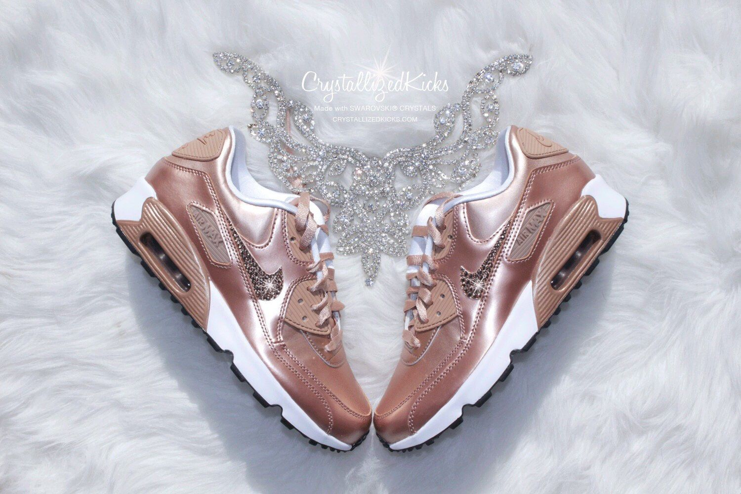 1befa87ee68d Nike Air Max 90 Rose Gold Sneakers Made with SWAROVSKI® Crystals - White Metallic  Rose Gold