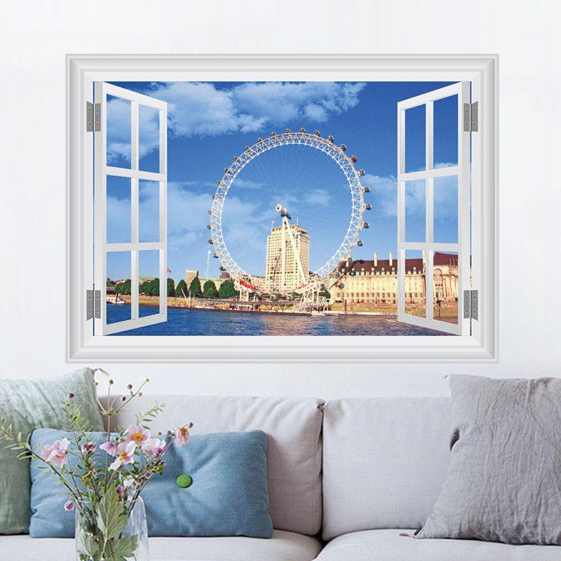 London Eye Ferris Wheel Window Poster 3D Art Wall Sticker Vinyl Decal Mural