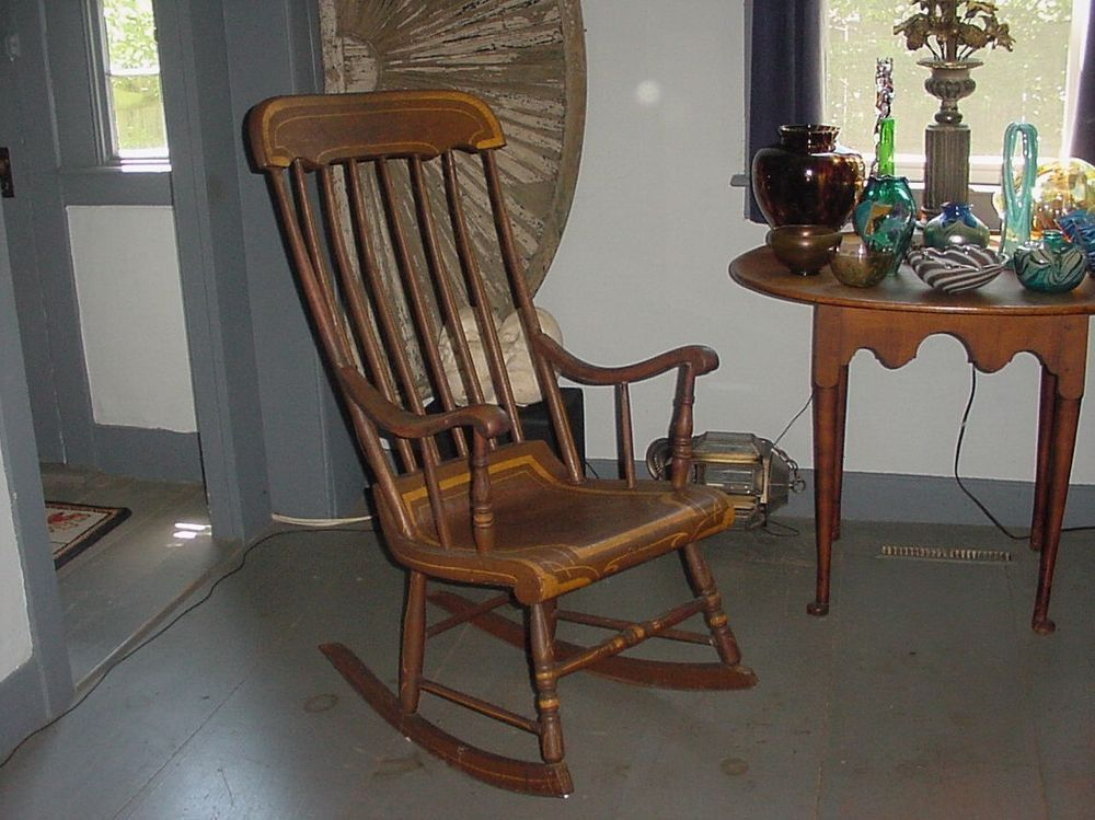 Antique Painted Wooden Boston Or Hitchcock Rocker Rocking Chair Americana Hitchcock Rockers Rocking Chairs Rocking Chair Antique Paint