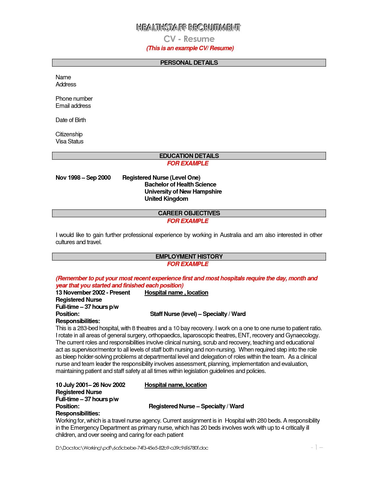 Example Of Objective Fair Resume Job Description Cover Letter Template Sample Resumes .