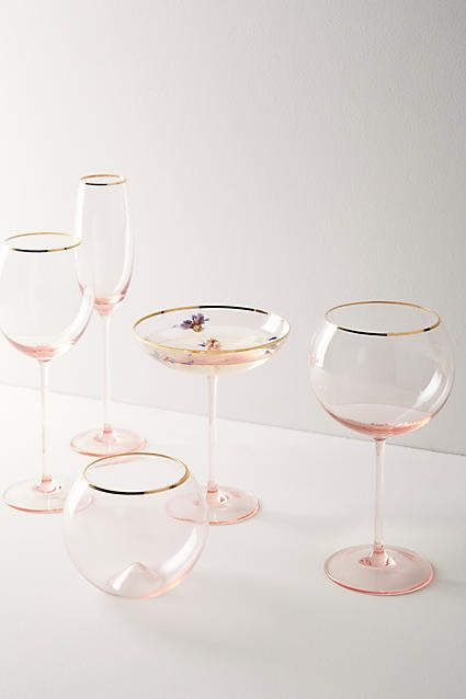 Anthropologie Gilded Rim Red Wine Glass