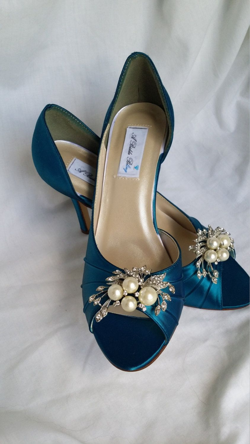 Wedding Shoes Teal Bridal Shoes With Pearl And Crystal Cascading Brooch Design 100 Additional Colors To Teal Wedding Shoes Wedding Shoes Dyeable Wedding Shoes