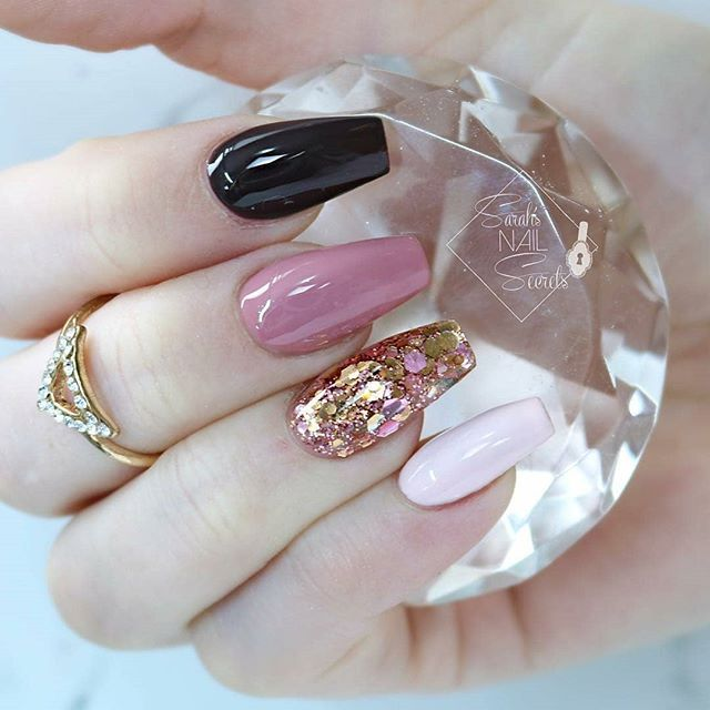 Pink And Blue Glitter Nail Polish: Coffin Shaped Nails With Blue, Pink, Pink Gold Glitter