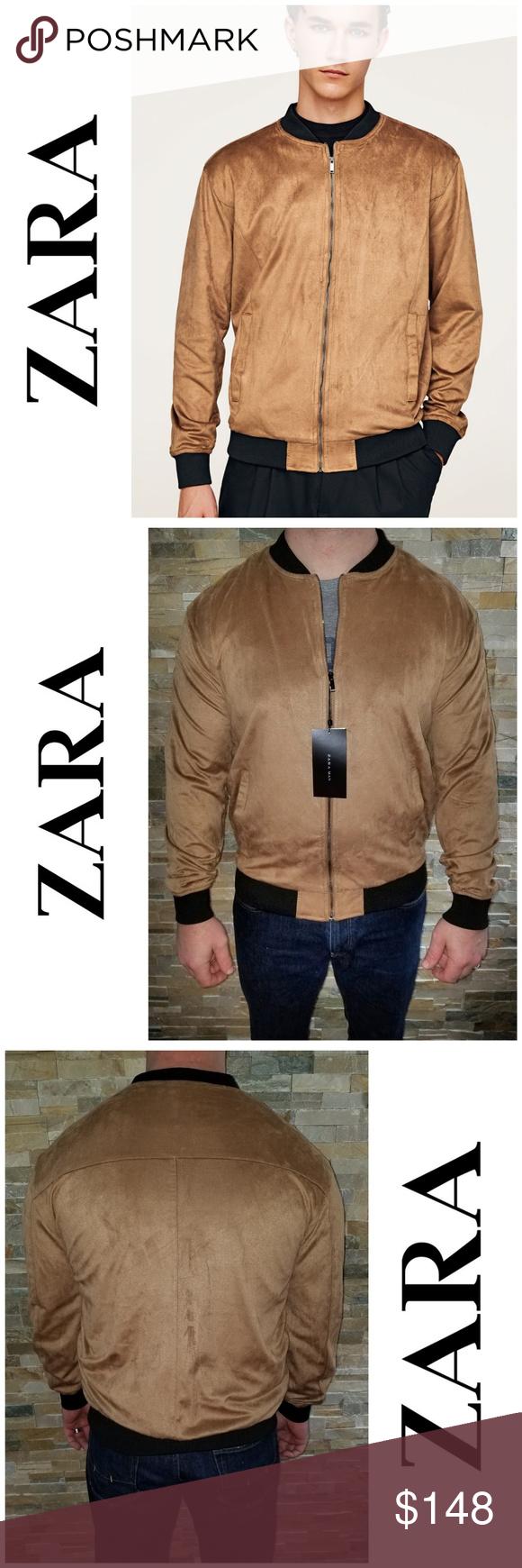Nwt Zara Man Faux Suede Zip Up Bomber Jacket Bomber Jacket Zara Man Suede Bomber Jacket