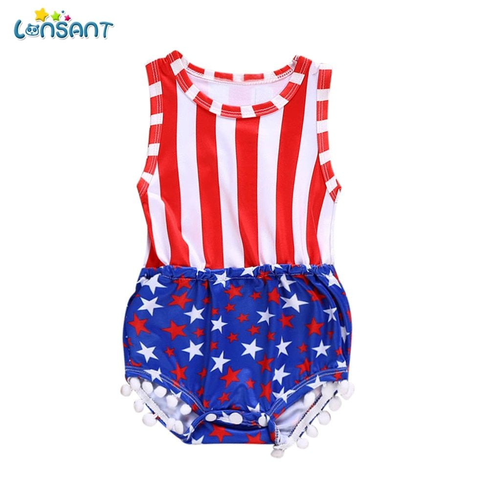 282e6424ede21 LONSANT 2018 New Arrival Summer Newborn Kids Baby Girls Boys 4th Of ...