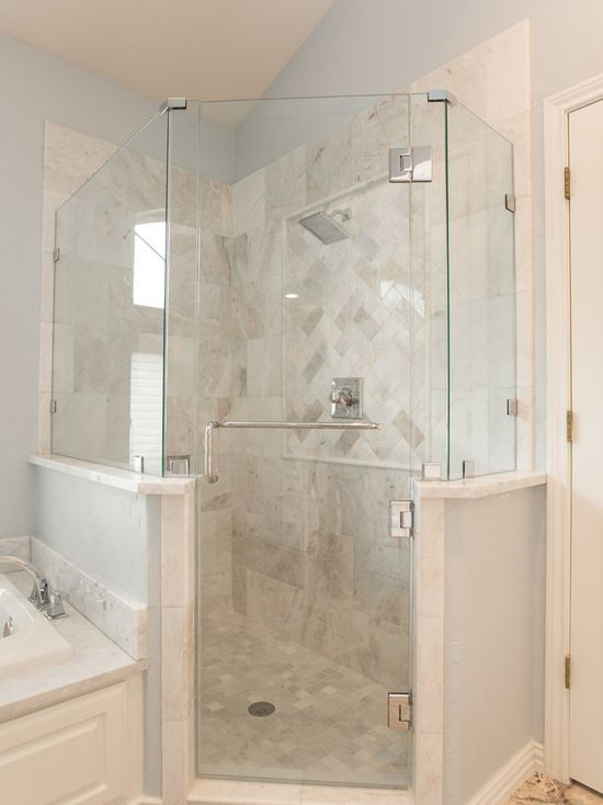 Shower Room With Walls Covered By White Marble And Glass Door Flow - Bathroom remodel flower mound tx