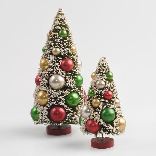 Retro Bottlebrush Tabletop Trees Retro Christmas Decorations Christmas Decorations Wholesale Retro Christmas