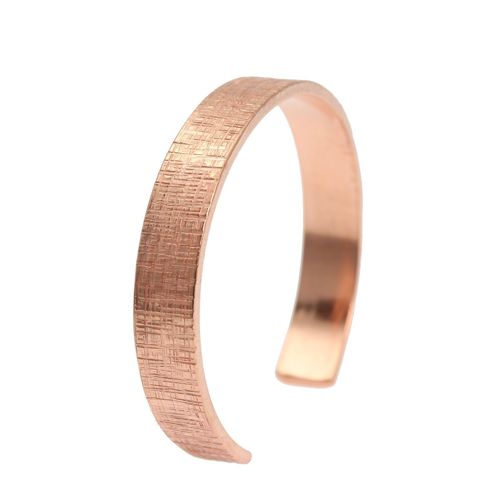 Mm wide linen copper cuff bracelet by john brana handmade jewelry