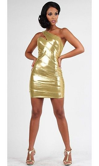 Sheath Taffeta One-Shoulder Short Dress