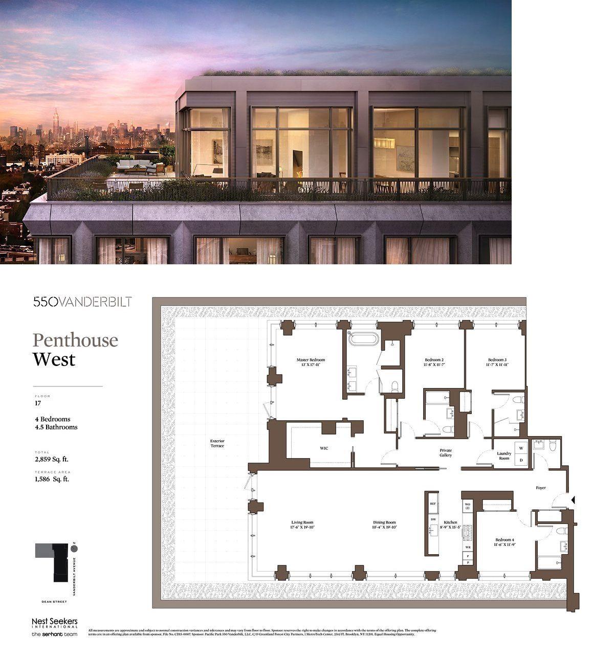 550 Vanderbilt Avenue Phw In Prospect Heights Brooklyn Streeteasy Penthouse Apartment Floor Plan Mansion Floor Plan Architectural Floor Plans