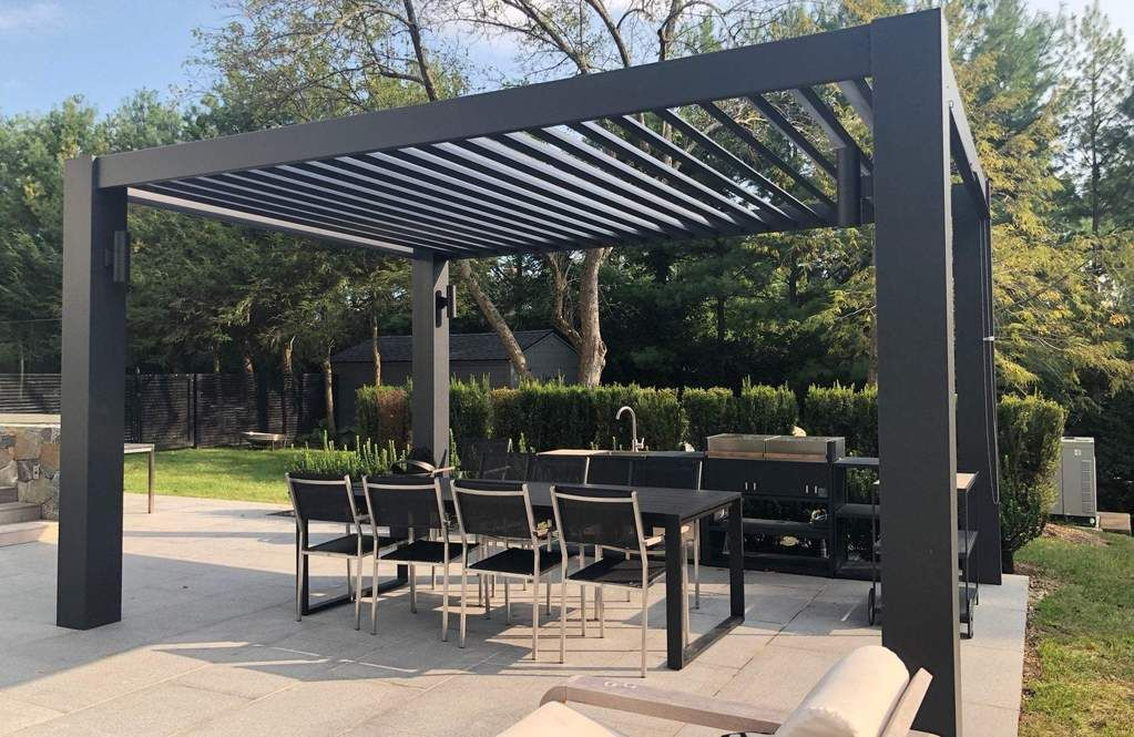 Modern Fiberglass Pergola With Fixed Louvers Outdoor Pergola Backyard Pergola Modern Pergola