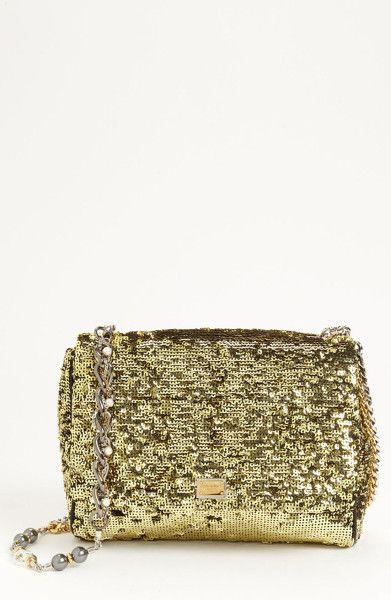 b4ce4e9887 Dolce   Gabbana Gold Miss Charles Sequin Shoulder Bag
