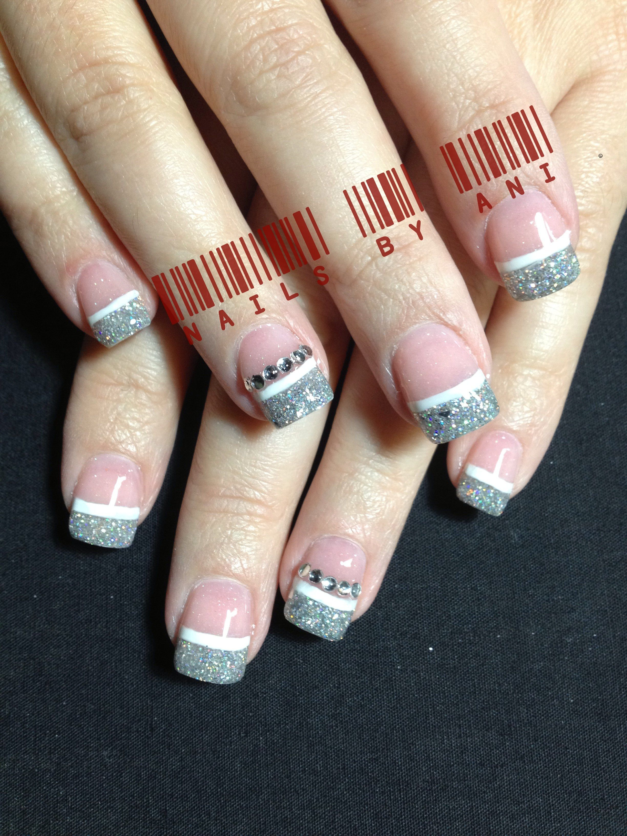 Silver French | Acrylic nail designs | Pinterest | Acrylic nail designs