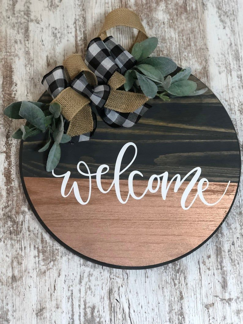 Farmhouse round wooden sign door hanging etsy