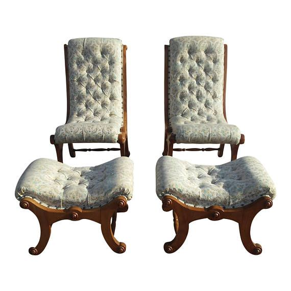 Astonishing Antique 1800S Victorian Carved Wood Upholstered Slipper Bralicious Painted Fabric Chair Ideas Braliciousco