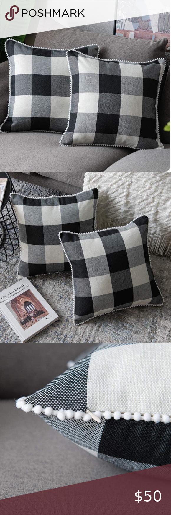 🛍NEW FARMHOUSE COVER SET 🛍 NEW Throw Pillow Covers SET 2 Throw Pillow Case...