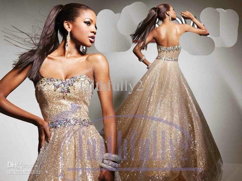 Silvery Golden Electric Sequin Prom Dress Colorful Beaded Rhinestone