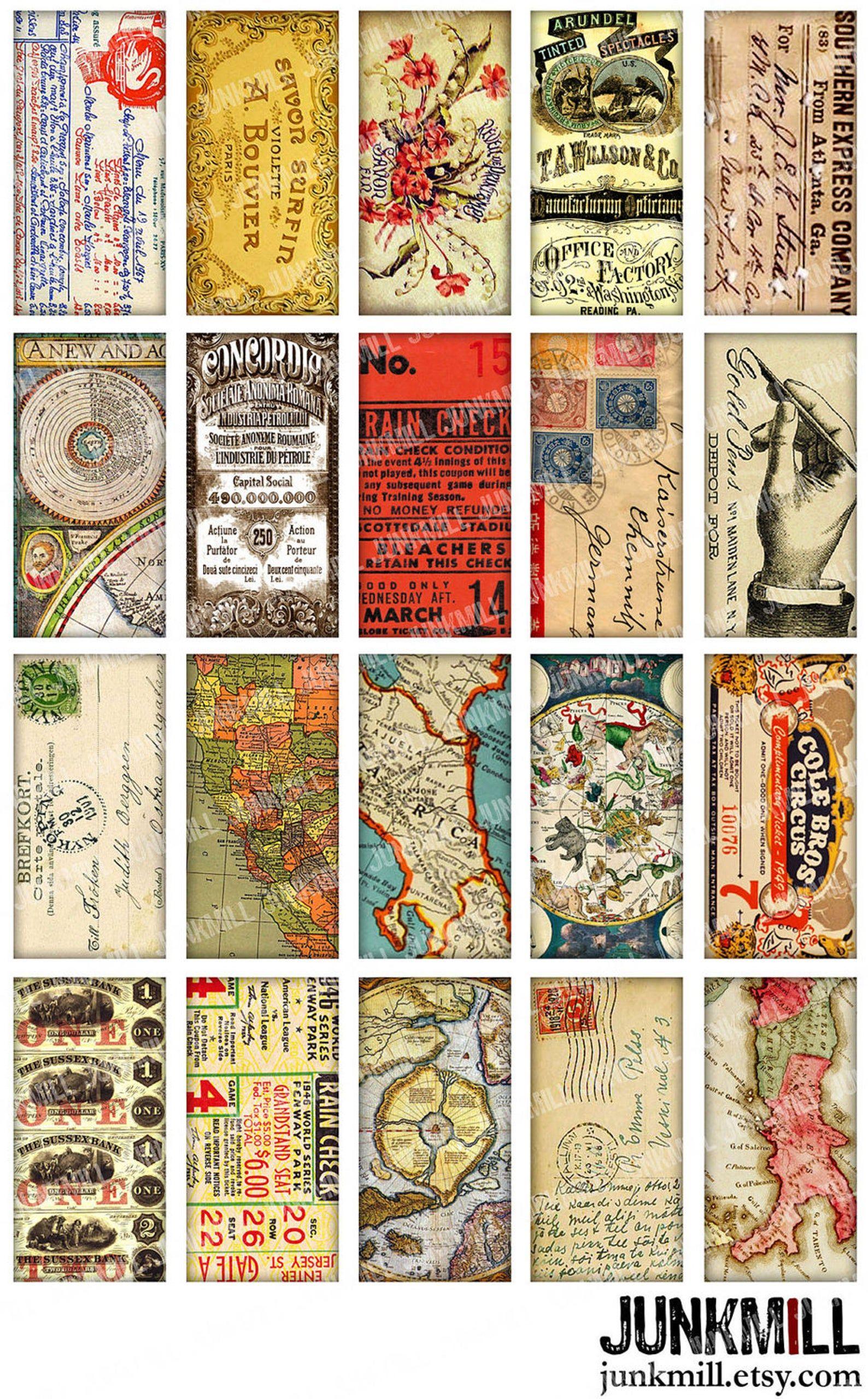 Carte Postale Strips Digital Collage Sheet Download 550 Digital Paper Instant Download Printables