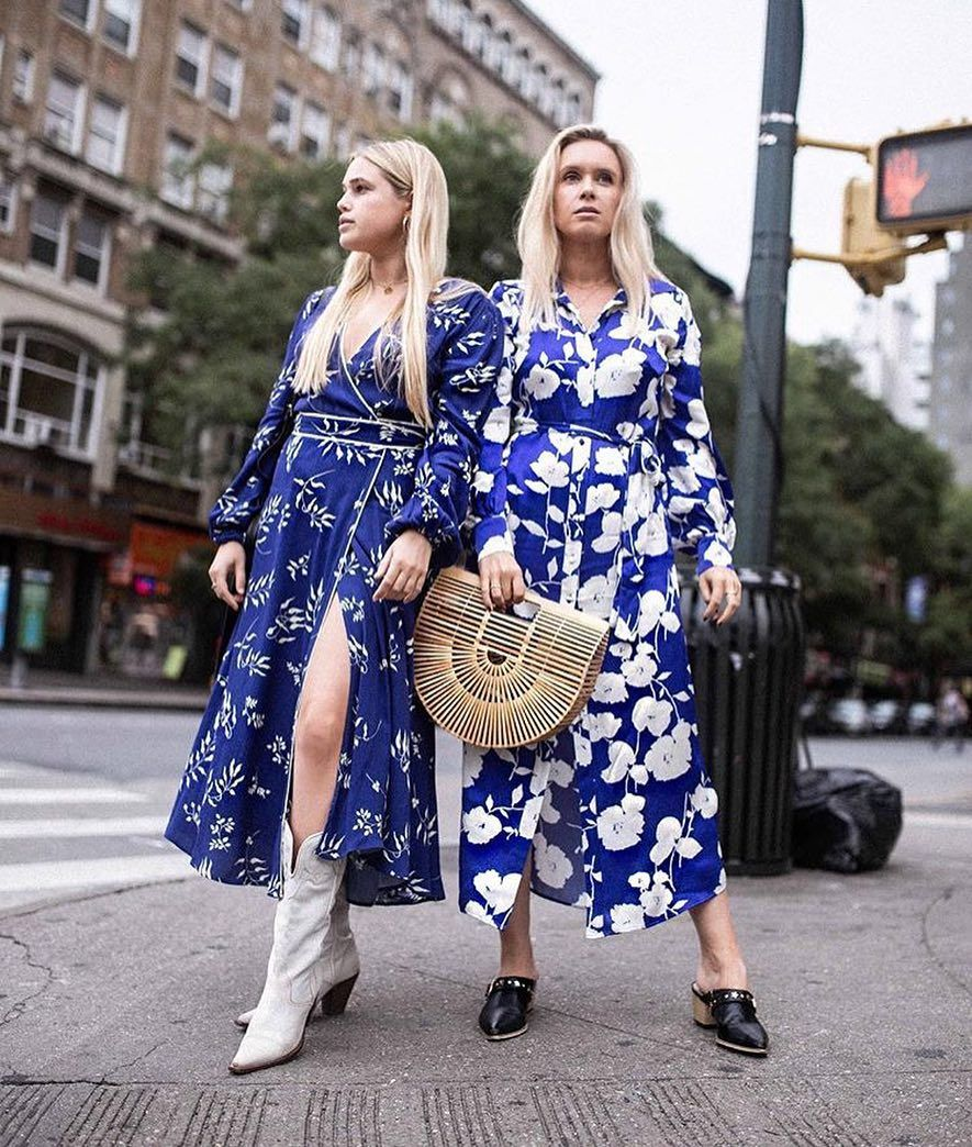 """03809946911 Ghost London on Instagram  """"Spotted 💙  oliviaandalice  at NYFW in the  Tasmin   Irina Dress... Online   In-stores Now! We love this transitional  look ..."""
