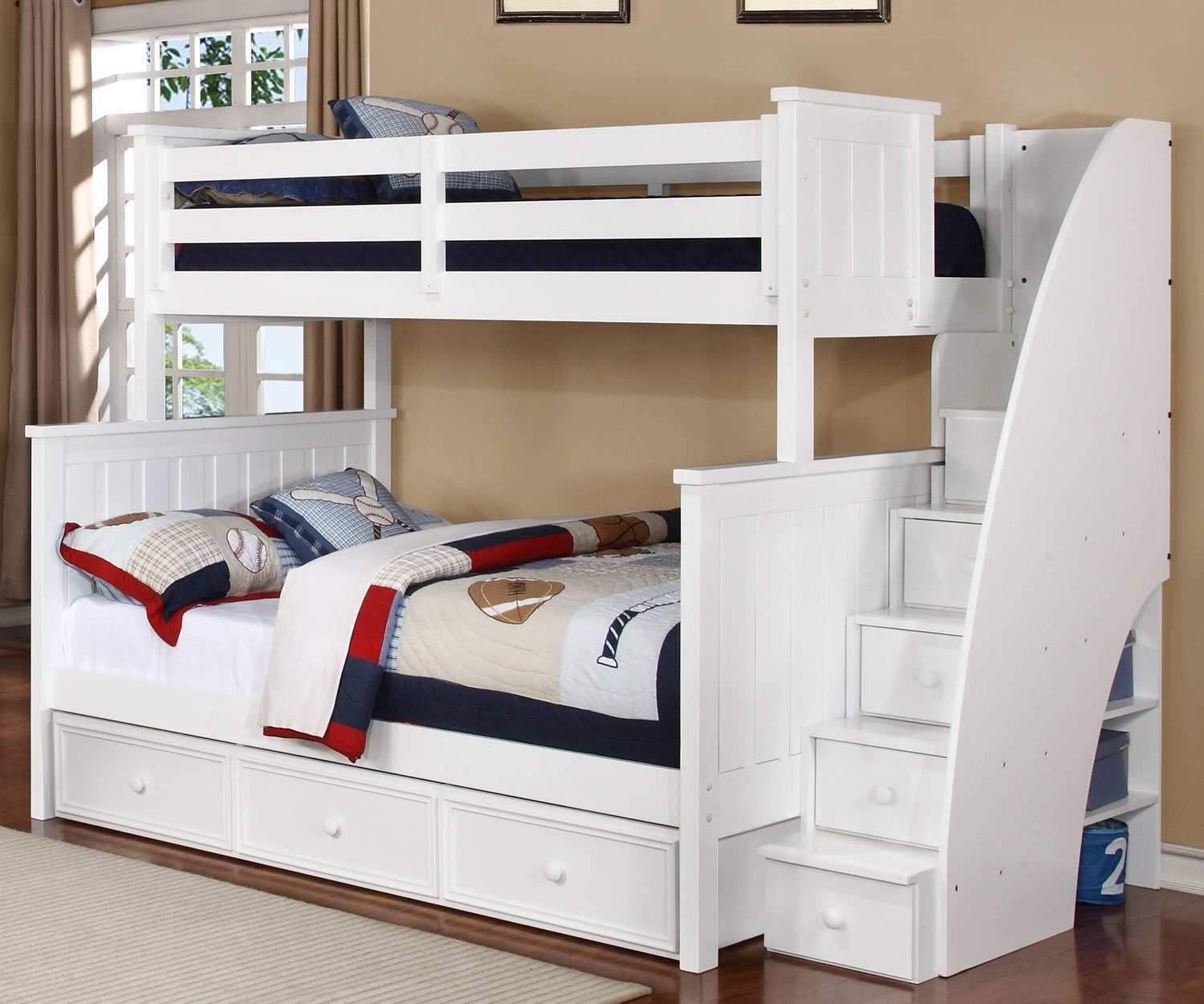 White Twin Bunk Beds Stairs Twin Bunk Beds In Very Intense