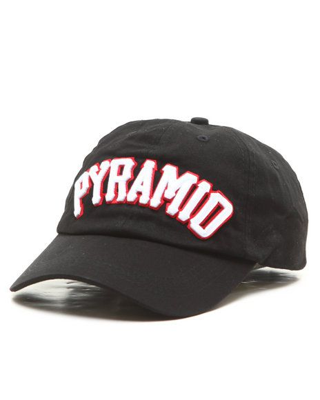 5bfd89d222c14 Find Pyramid Text Strapback Hat Men s Hats from Black Pyramid   more ...