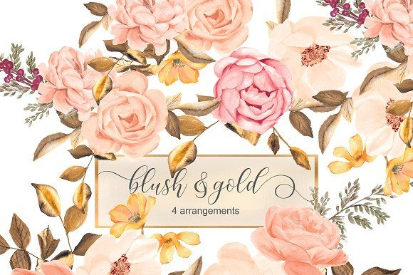Watercolor Blush Gold Roses Clip Art Flower Clipart Blush And Gold Rose Clipart