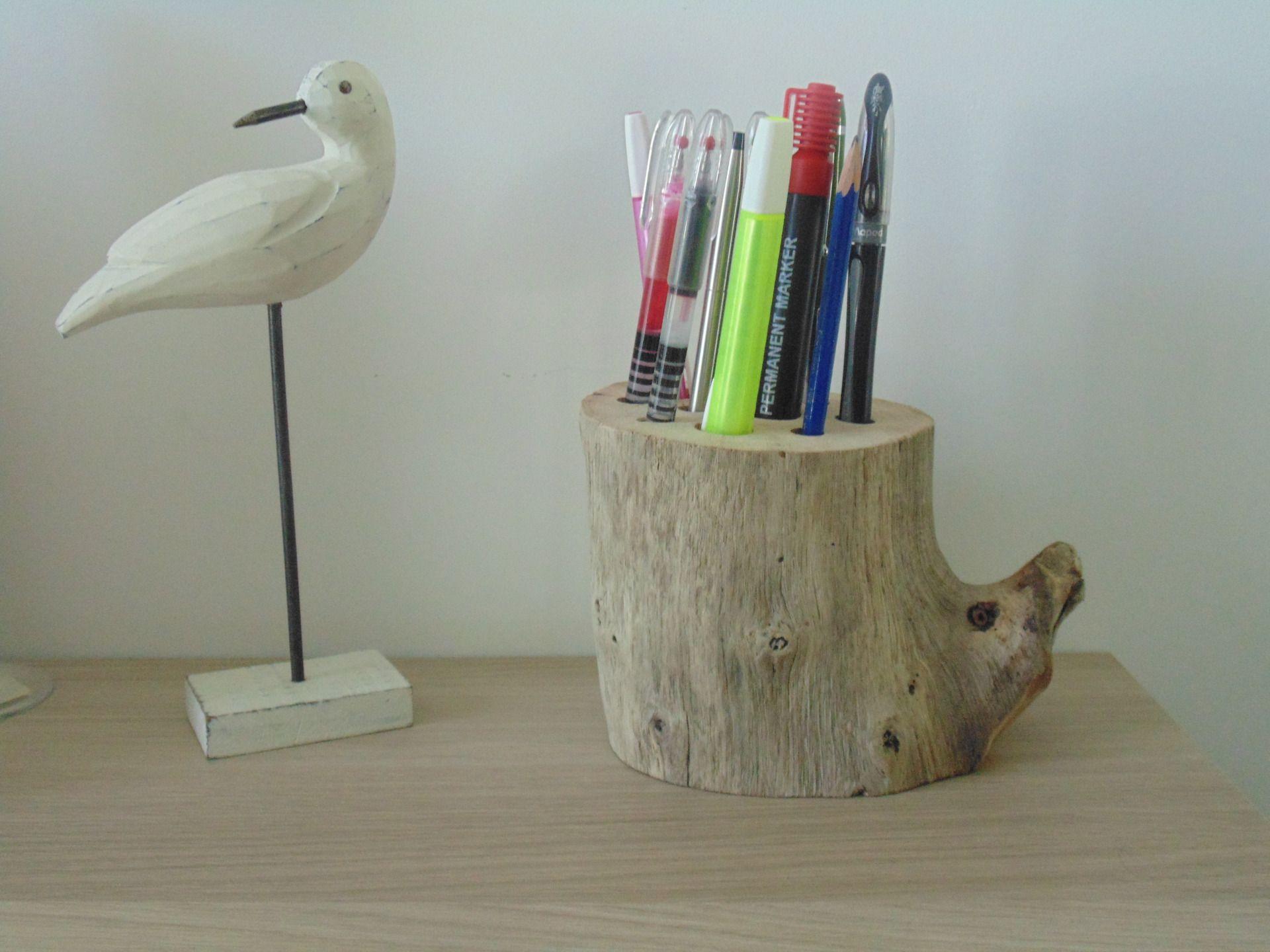 Pot à crayons bois flotté accessoire de bureau création unique