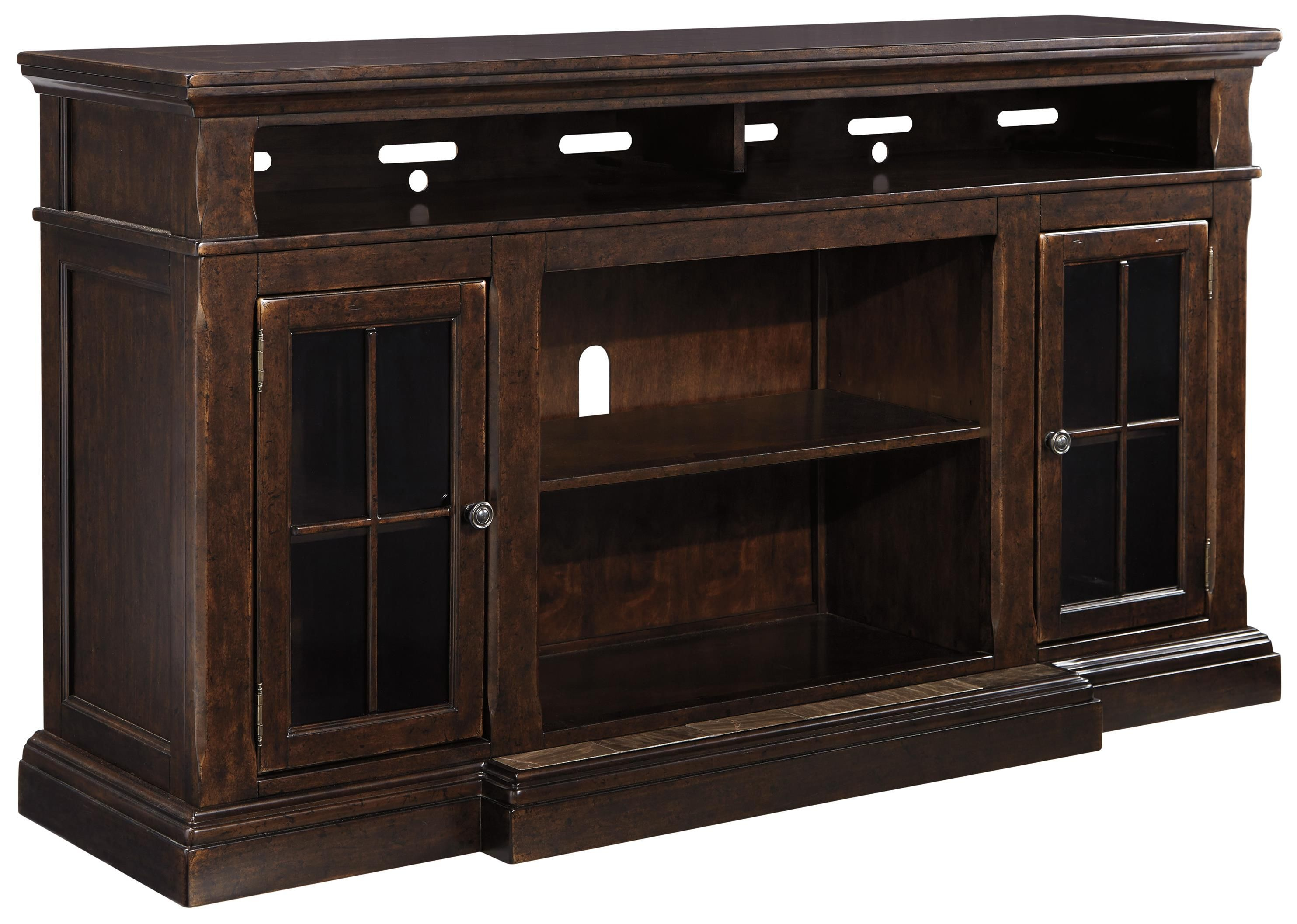 Roddinton Extra Large Tv Stand With Breakfront 2 Glass Doors By Signature Design By Ashley Large Tv Stands Fireplace Option Signature Design By Ashley