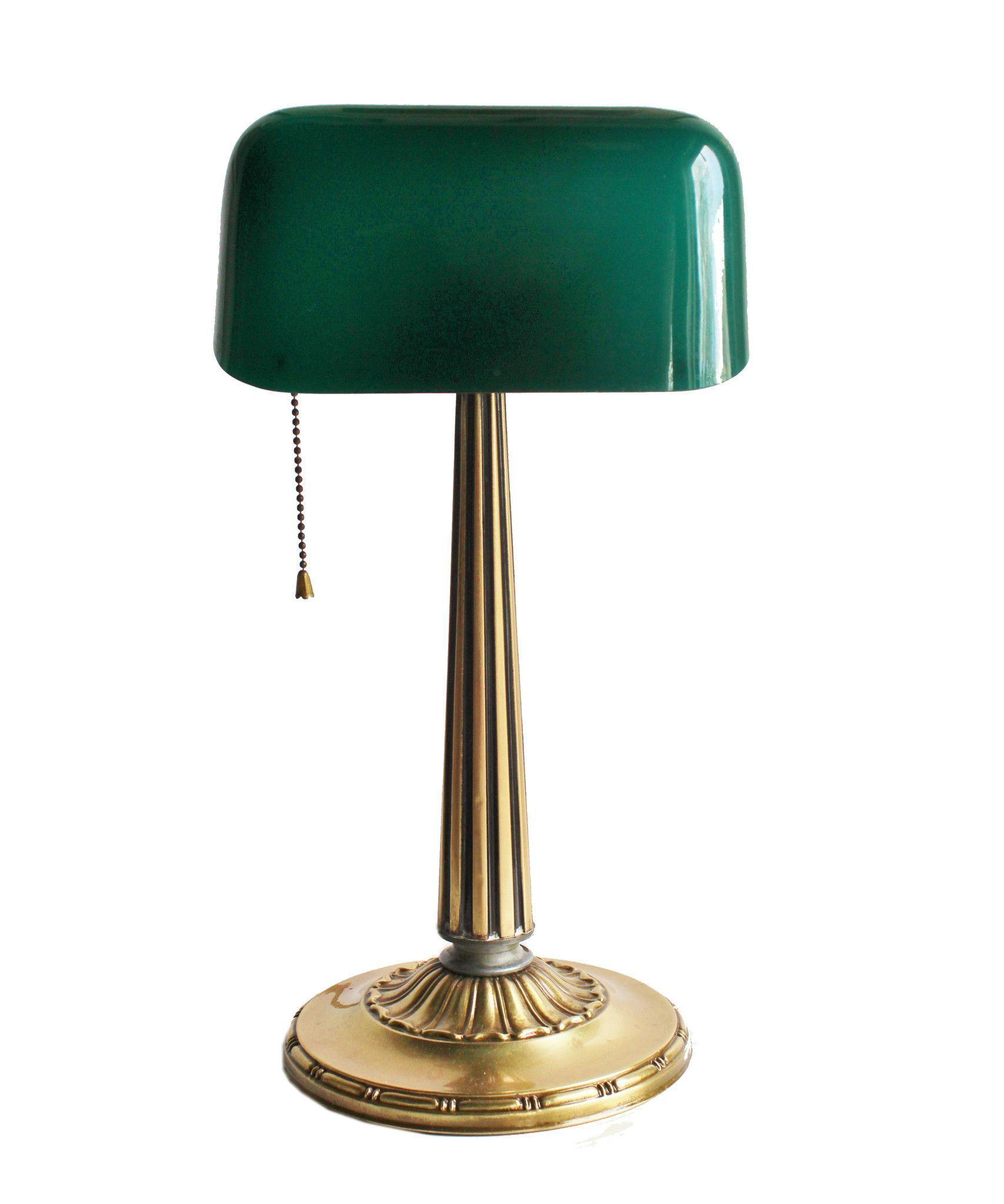 1916 Antique Emeralite Brass Task Lamp - solid brass base ...