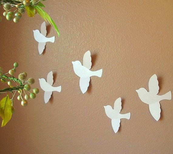 Bird Wall Art Love The Contrast Of The White Against The Mocha Wall With The Green Sprigs
