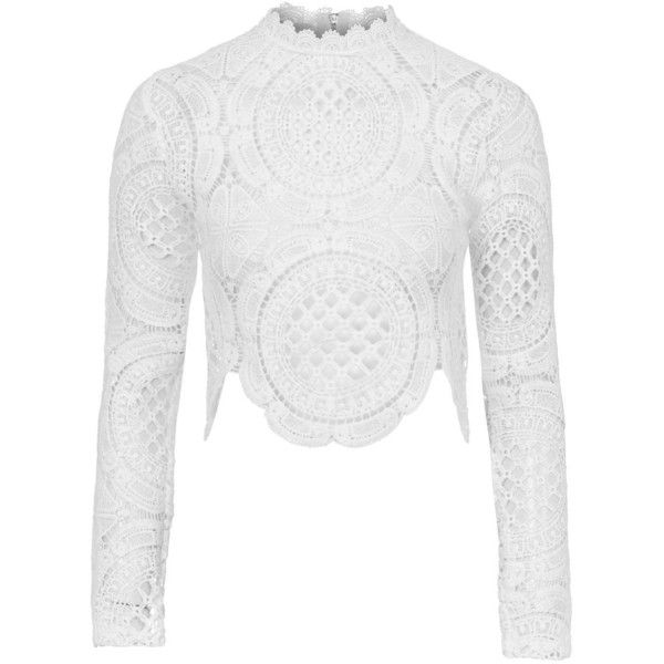 28b79a7df7b48b TOPSHOP **Crochet Long Sleeve Crop by Glamorous ($37) ❤ liked on Polyvore  featuring tops, petite, white, crochet crop top, petite long sleeve tops,  ...