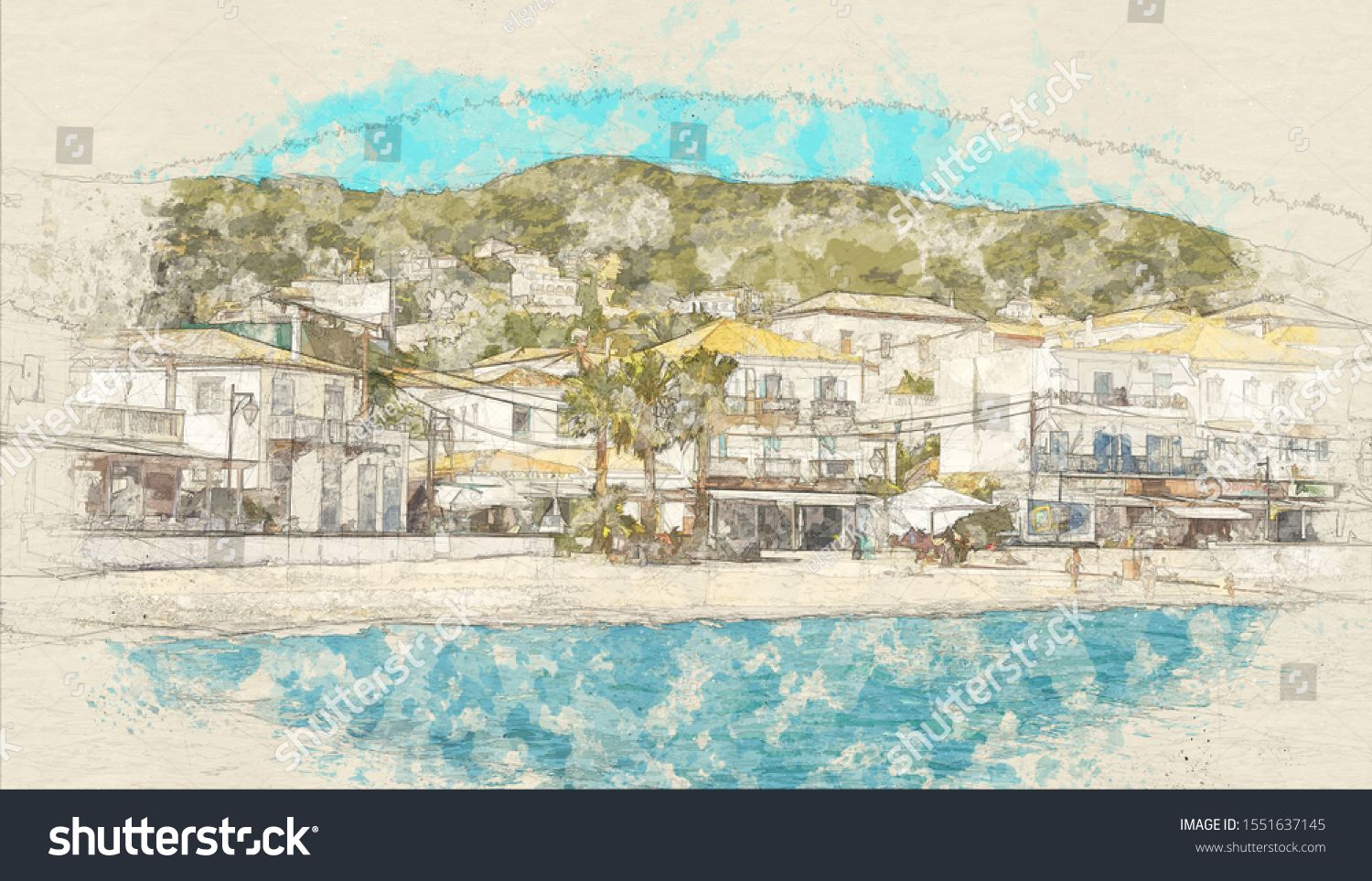 Sketch of buildings of Spetses island on Saronic gulf near Athens, Greece. Tourism concept. Color i