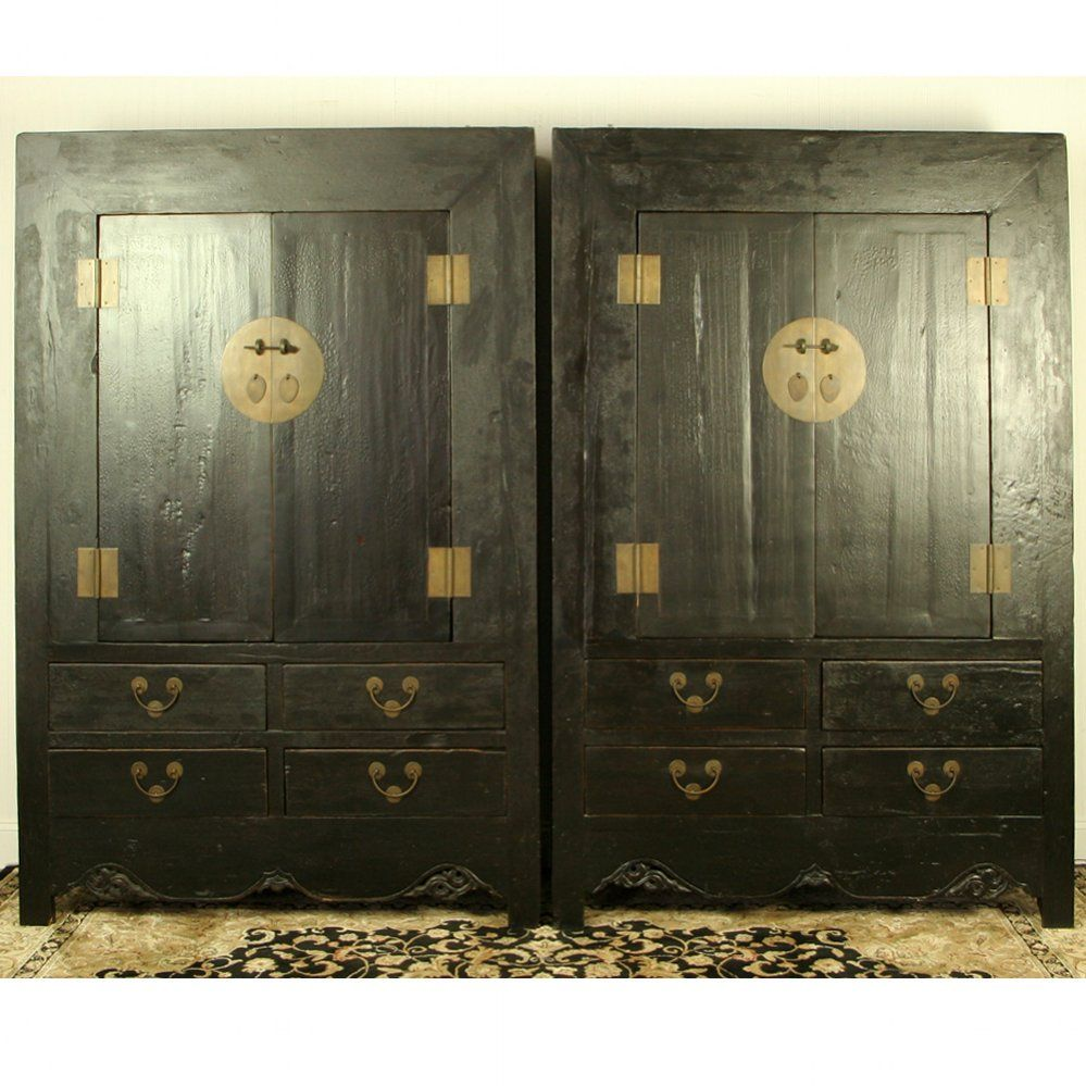 2328989d8 A very large pair of antique Chinese black lacquer wardrobe cabinets from  Shanxi.
