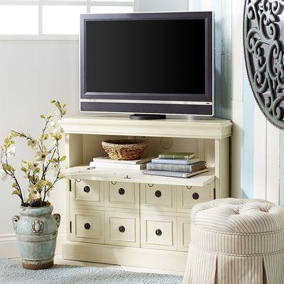 Leland Corner TV Stand - Antique White - Leland Antique White 38