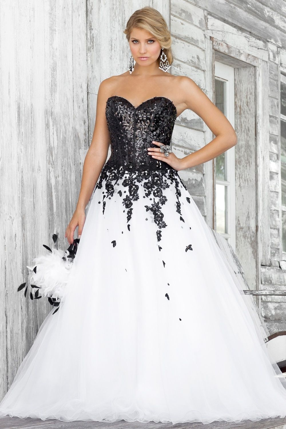 Plus size white wedding dresses  Black and White Wedding Dress With Lace Sequins Perfect for Second