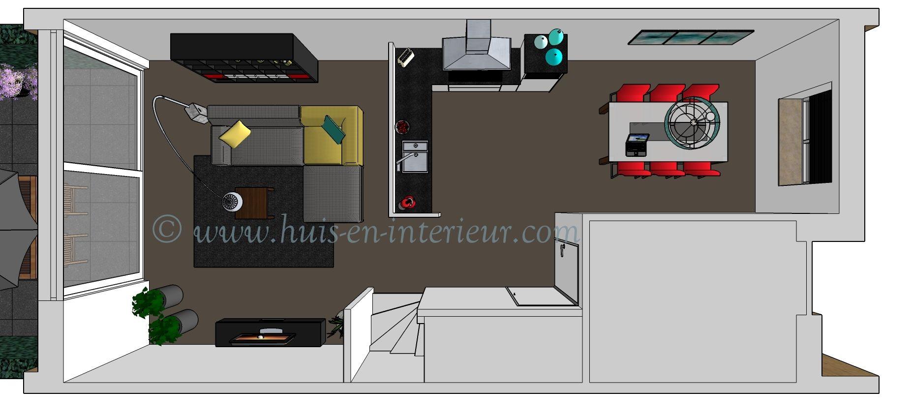 Ibba almere ontwerp 2 de keuken in het midden van de woning en een aparte eetkamer 3d - In het midden eiland keuken ...