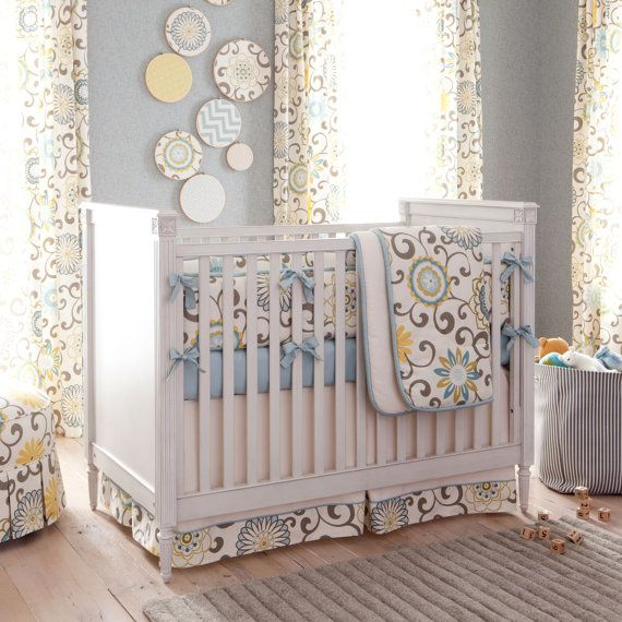 Neutral Baby Crib Bedding / Girl Crib Bedding / Boy Baby Crib Bedding: Spa  Pom Pon Play Crib Bedding   Fabric Swatches Only | Baby Ideas | Pinterest