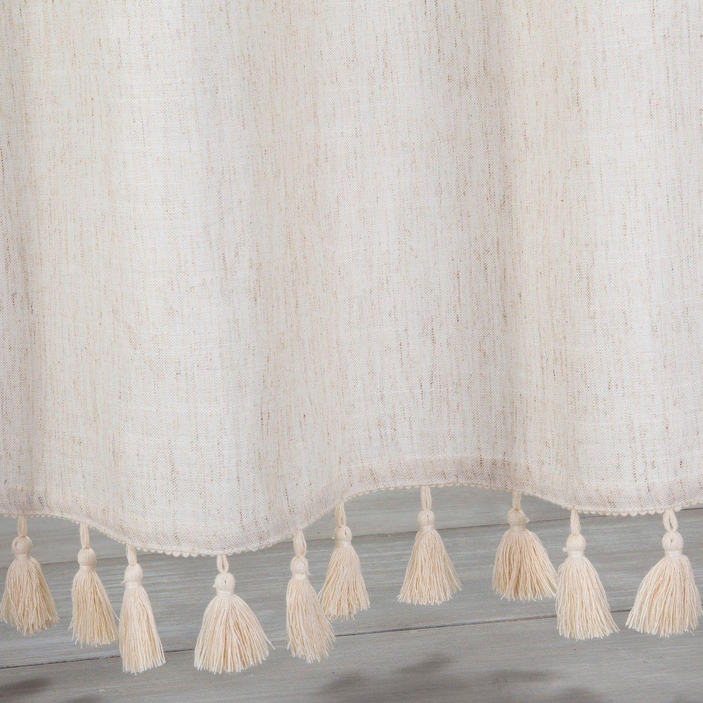 Solid Crochet With Tassels Shower Curtain Tan Opalhouse Diy