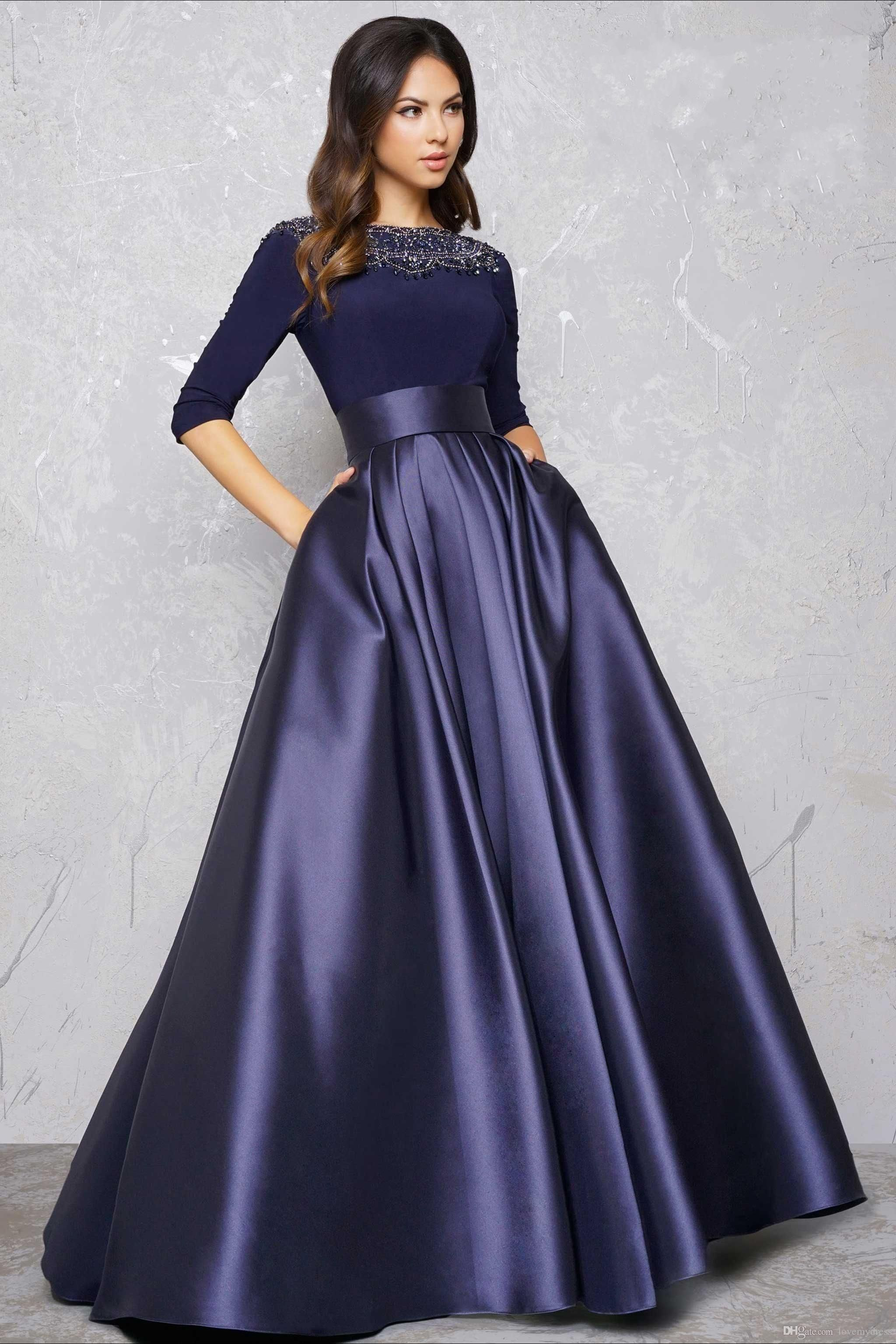 Long Sleeve Evening Gowns Formal Dress A Line Party Dress High Quality Prom  Dress Beadings Elegant Floor Length Sexy Simple Design Cheap 28eefc49c701