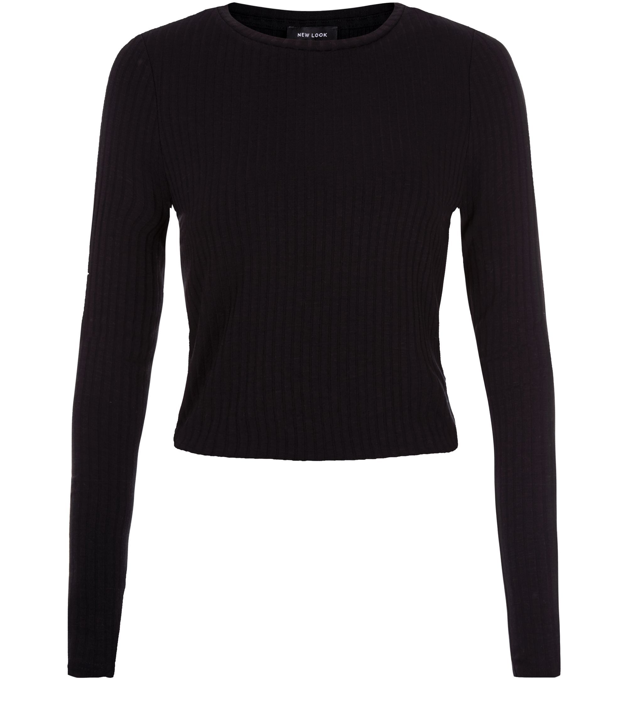 Black Ribbed Space Dye Long Sleeve Top   New Look