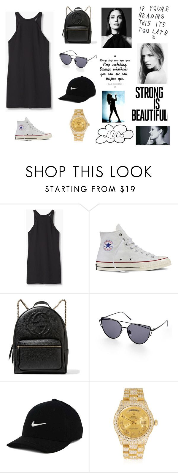 """Too Late"" by lucyville on Polyvore featuring MANGO, Converse, Gucci, NIKE and Rolex"