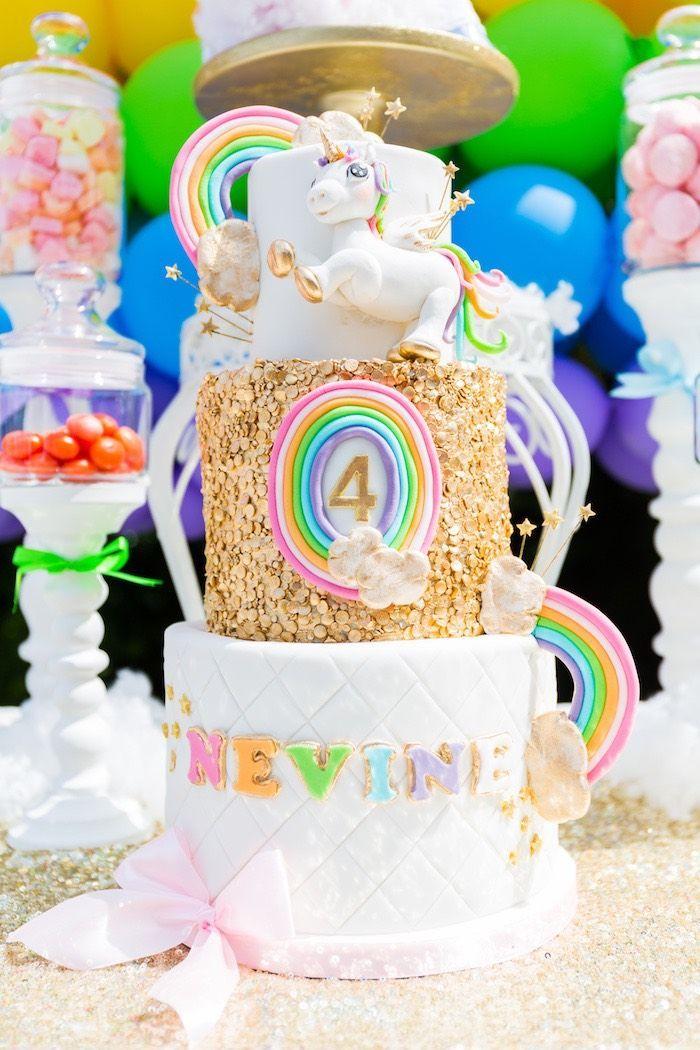 Gold Rainbow Unicorn Birthday Party Unicorn birthday parties