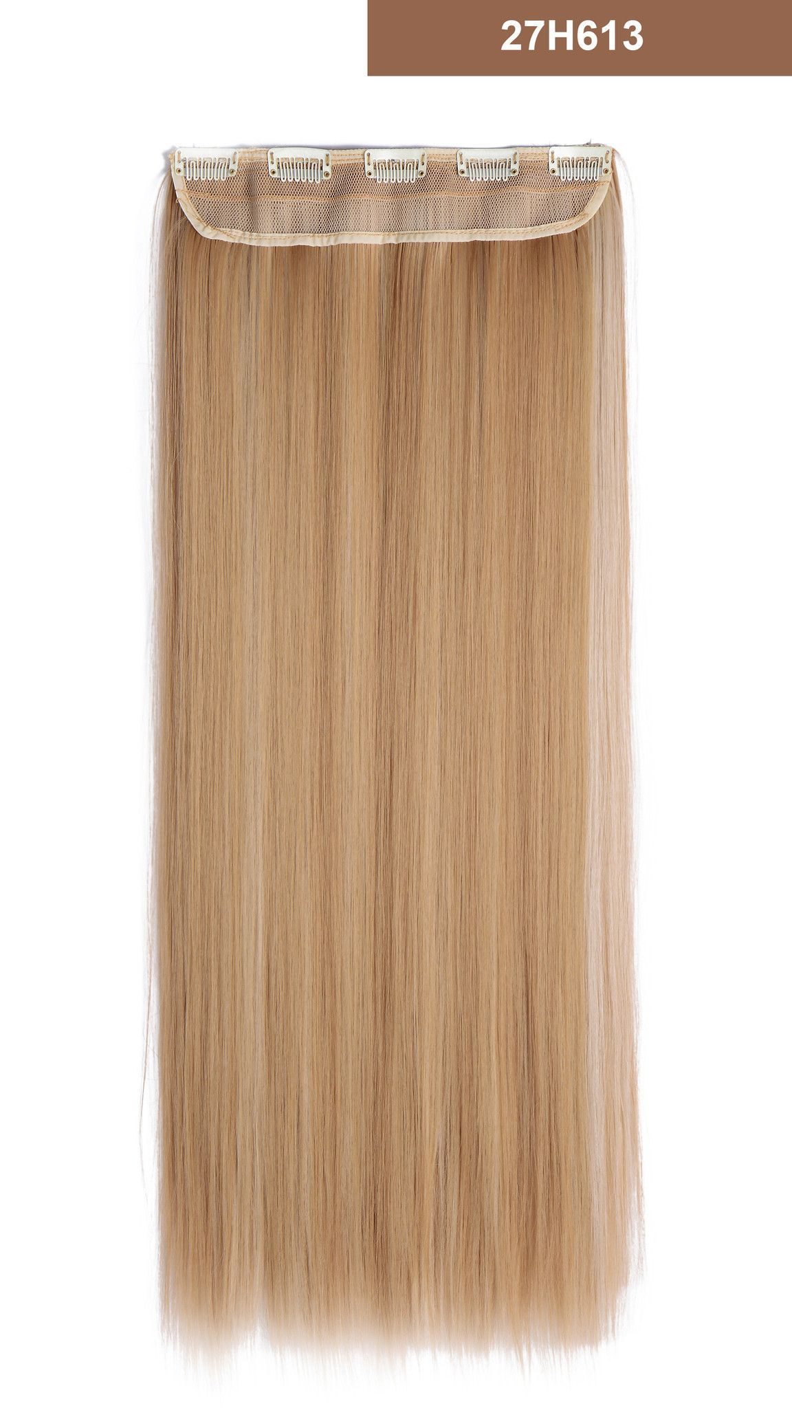 24 Straight 34 Full Head Synthetic Hair Extensions Clip On