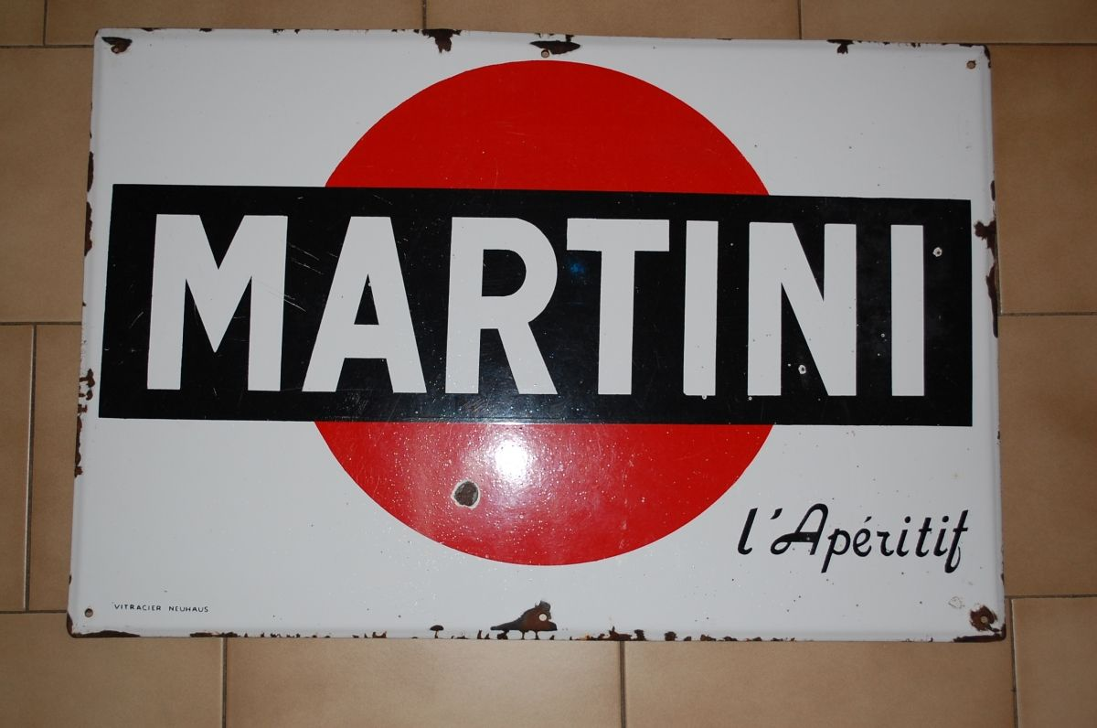 plaque emaillee martini luckyfind la marketplace du vintage luckyfind pinterest plaque. Black Bedroom Furniture Sets. Home Design Ideas