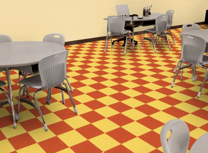 Armstrong S Standard Excelon Imperial Texture Using Lemon Yellow And Pumpkin Orange In A Cafeteria Setting Vct Tile Vinyl Flooring Flooring