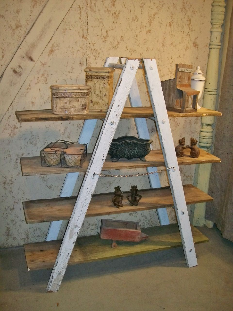 Shaped Wooden Ladder Rustic Shelving 5 Rung Wooden Ladder Wood Ladder Decor Old Wooden Ladders
