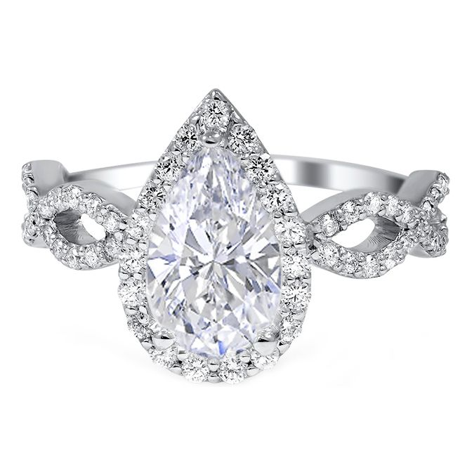 Pear Shape Halo Diamond Engagement Ring With Infinity Sign Band