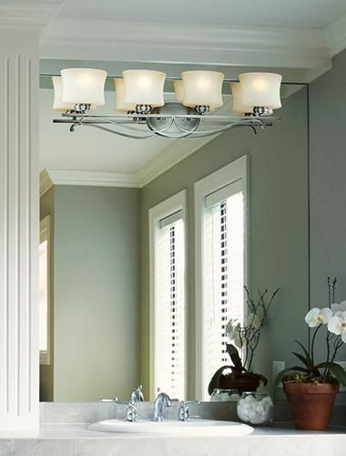 Mounting a light fixture directly on the mirror is a great ...