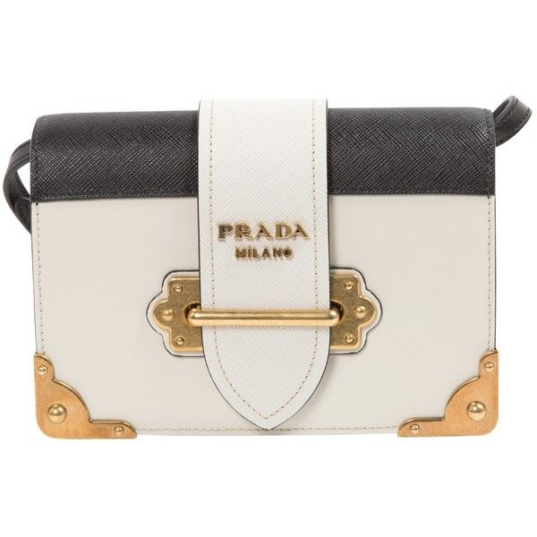 74eeca48c9f054 Pre-owned Prada Leather Clutch Bag ($1,719) ❤ liked on Polyvore featuring  bags, handbags, clutches, ecru, genuine leather purse, leather handbags, ...
